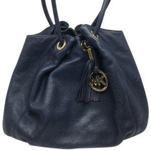 Michael Kors Navy Blue Large Leather Tote Bag